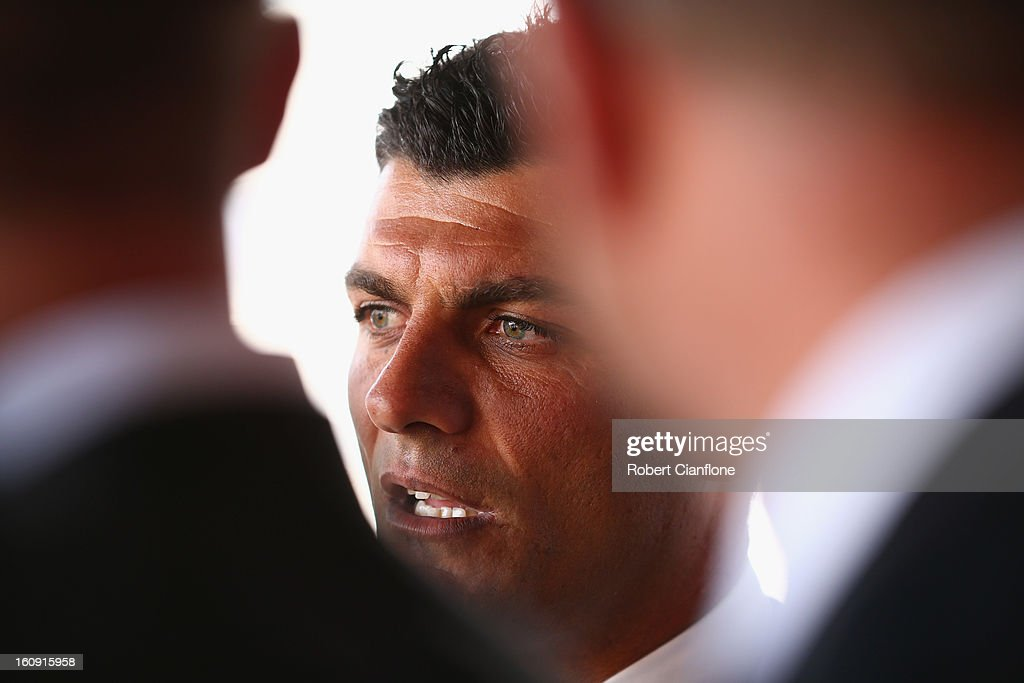 Coach of the Melbourne Heart <a gi-track='captionPersonalityLinkClicked' href=/galleries/search?phrase=John+Aloisi&family=editorial&specificpeople=171530 ng-click='$event.stopPropagation()'>John Aloisi</a> speaks to the media during an A-League press conference at The Peninsula on February 8, 2013 in Melbourne, Australia.