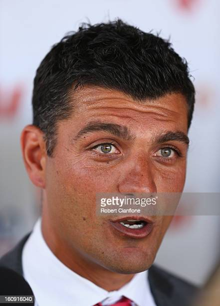 Coach of the Melbourne Heart John Aloisi speaks to the media during an ALeague press conference at The Peninsula on February 8 2013 in Melbourne...