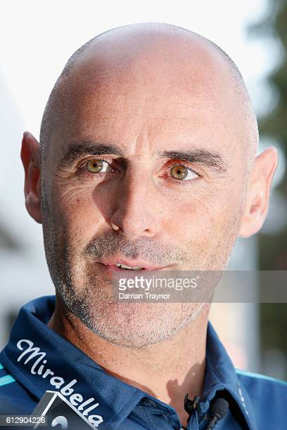Coach of the Melbourne Victory Kevin Muscat speaks to media before a Melbourne Victory training session at Gosch's Paddock on October 6 2016 in...
