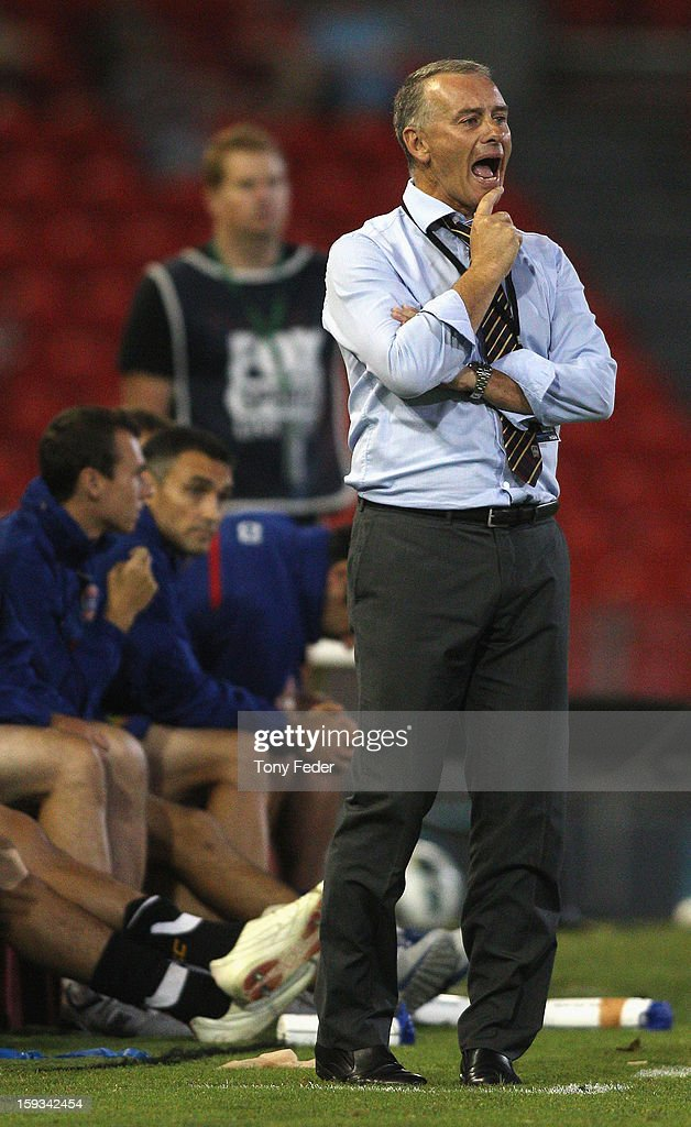 Coach of the Newcastle Jets Gary Van Egmond urges his players on during the round 16 A-League match between the Newcastle Jets and the Brisbane Roar at Hunter Stadium on January 12, 2013 in Newcastle, Australia.
