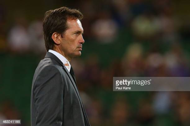 Coach of the Roar Mike Mulvey looks on during the round 15 ALeague match between Perth Glory and the Brisbane Roar at nib Stadium on January 17 2014...