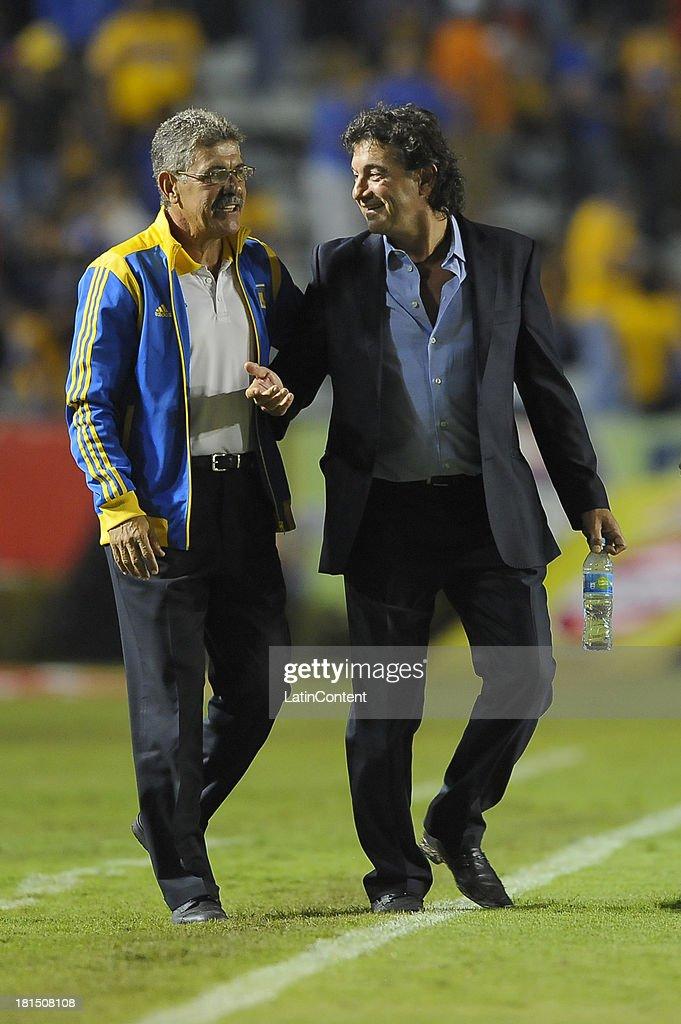 Coach of Tigres and coach of Puebla prior a match between Tigres UANL and Puebla FC as part of the Liga MX at Universitario stadium on September 21, 2013 in Monterrey, Mexico.