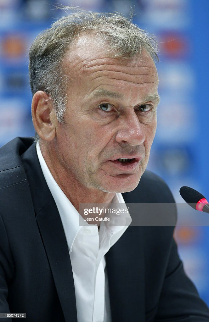 Coach of Troyes ESTAC <a gi-track='captionPersonalityLinkClicked' href=/galleries/search?phrase=Jean-Marc+Furlan&family=editorial&specificpeople=2217859 ng-click='$event.stopPropagation()'>Jean-Marc Furlan</a> answers to the media during the press conference following the French Ligue 1 match between Olympique de Marseille (OM) and Troyes ESTAC at New Stade Velodrome on August 23, 2015 in Marseille, France.