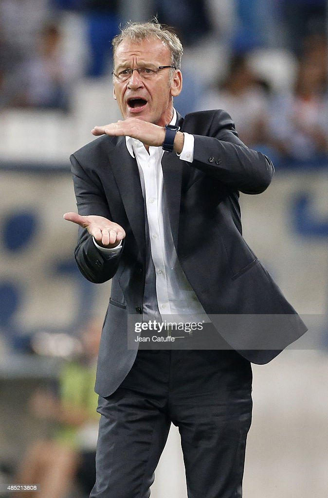 Coach of Troyes ESTAC <a gi-track='captionPersonalityLinkClicked' href=/galleries/search?phrase=Jean-Marc+Furlan&family=editorial&specificpeople=2217859 ng-click='$event.stopPropagation()'>Jean-Marc Furlan</a> reacts during the French Ligue 1 match between Olympique de Marseille (OM) and Troyes ESTAC at New Stade Velodrome on August 23, 2015 in Marseille, France.