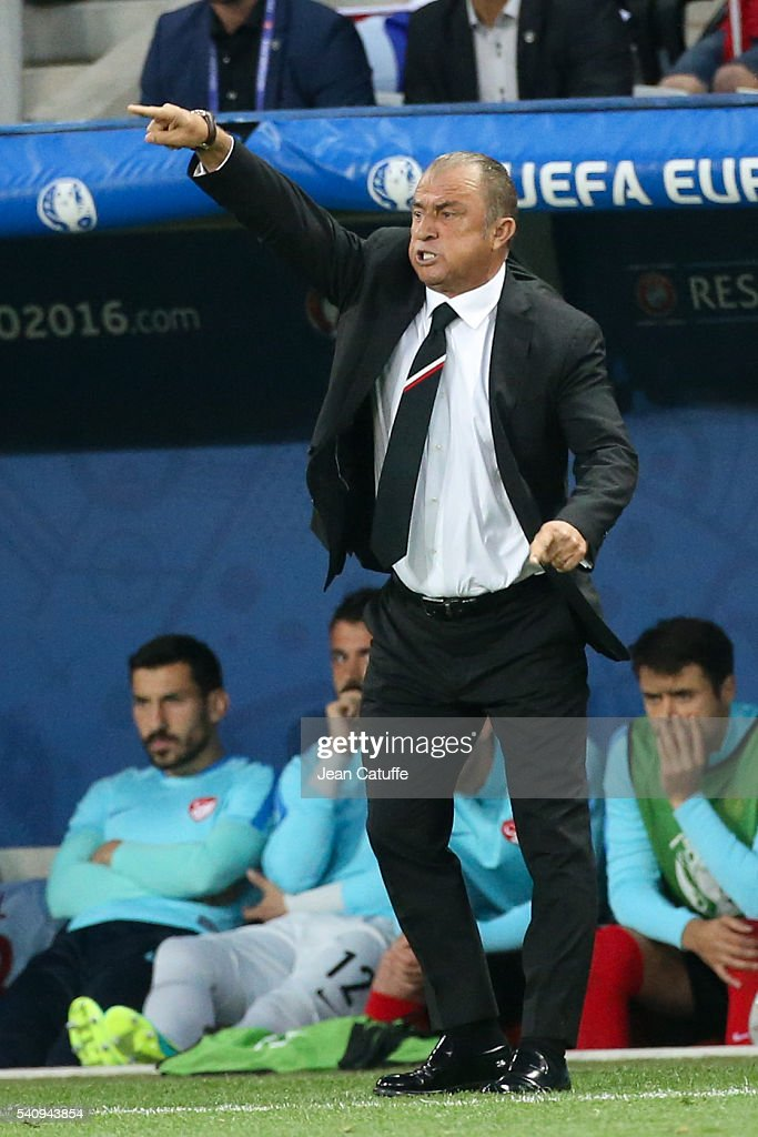 Coach of Turkey <a gi-track='captionPersonalityLinkClicked' href=/galleries/search?phrase=Fatih+Terim&family=editorial&specificpeople=602376 ng-click='$event.stopPropagation()'>Fatih Terim</a> reacts during the UEFA EURO 2016 Group D match between Spain and Turkey at Allianz Riviera Stadium on June 17, 2016 in Nice, France.