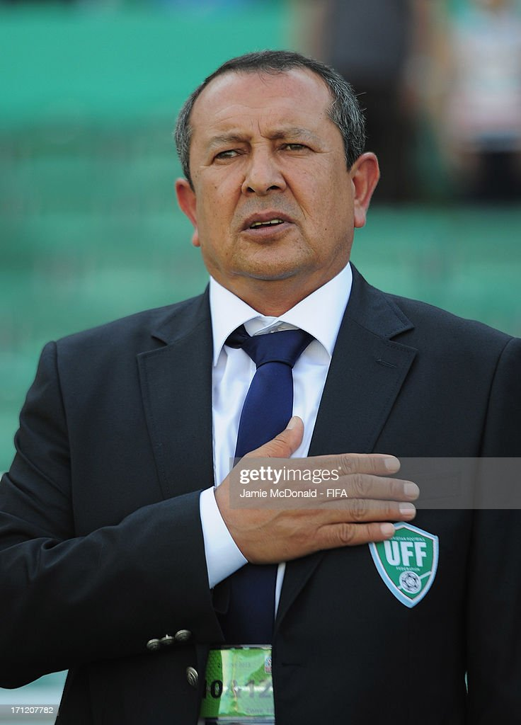 Coach of Uzbekistan Akhmadjan Musaev looks on during the FIFA U-20 World Cup Group F match between New Zealand and Uzbekistan at the Ataturk Stadium on June 23, 2013 in Bursa, Turkey.