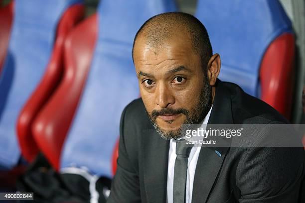 Coach of Valencia CF Nuno Espirito Santo looks on during the UEFA Champions league match between Olympic Lyonnais and Valencia CF at Stade de Gerland...