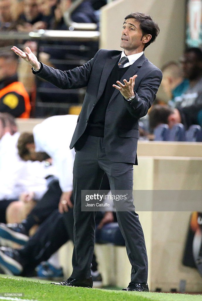 Coach of Villarreal Marcelino Garcia Toral reacts during the UEFA Europa League semi final first leg match between Villarreal CF and Liverpool FC at Estadio El Madrigal stadium on April 28, 2016 in Villarreal, Spain.