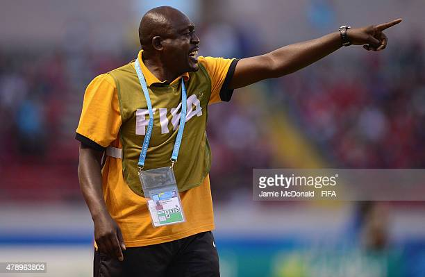 Coach of Zambia Albert Kachinga looks on during the FIFA U17 Women's World Cup Group A match between Italy and Zambia at Estadio Nacional on March 15...
