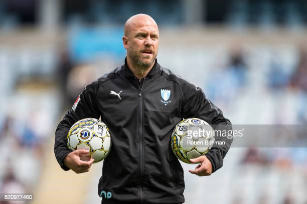 Coach Olof Persson ahead of the Allsvenskan match between Malmo FF and Jonkopings Sodra IF at Swedbank Stadion on July 22 2017 in Malmo Sweden