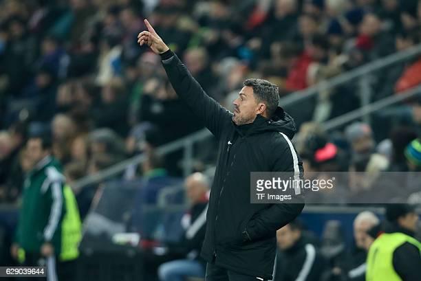 coach Oscar Garcia of Salzburg gestures during the UEFA Europa League match between FC Salzburg and FC Schalke 04 at Red Bull Arena in Salzburg...