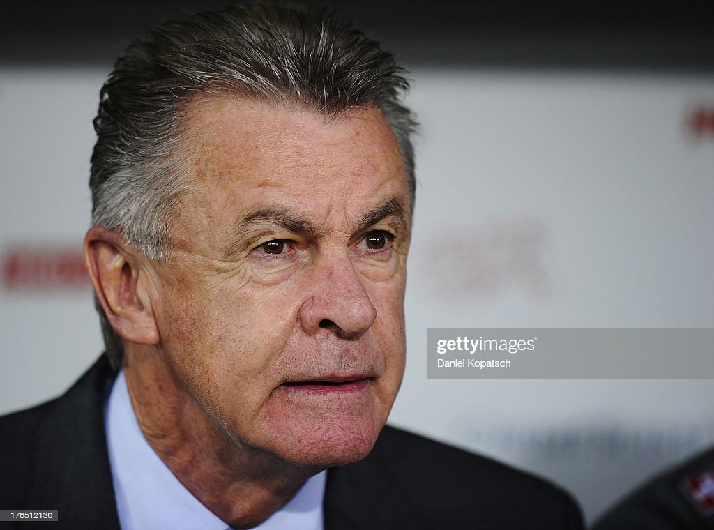 Coach <a gi-track='captionPersonalityLinkClicked' href=/galleries/search?phrase=Ottmar+Hitzfeld&family=editorial&specificpeople=624332 ng-click='$event.stopPropagation()'>Ottmar Hitzfeld</a> of Switzerland looks on prior to the international friendly match between Switzerland and Brazil at St. Jakob Stadium on August 14, 2013 in Basel, Switzerland.