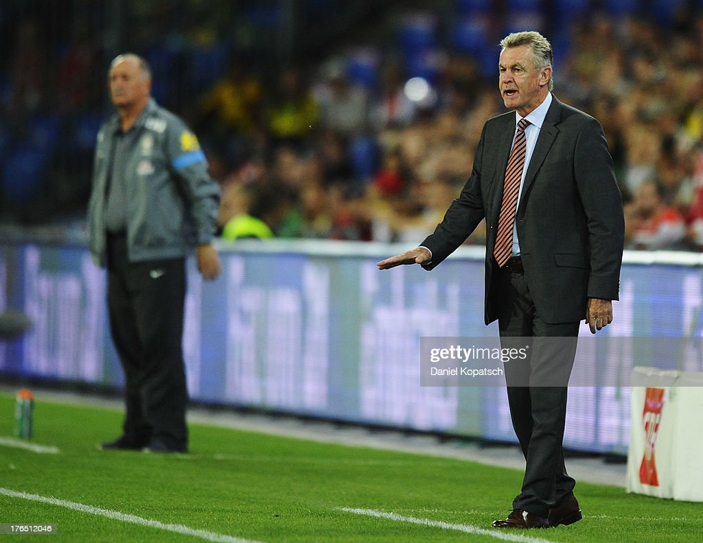 Coach <a gi-track='captionPersonalityLinkClicked' href=/galleries/search?phrase=Ottmar+Hitzfeld&family=editorial&specificpeople=624332 ng-click='$event.stopPropagation()'>Ottmar Hitzfeld</a> of Switzerland reacts during the international friendly match between Switzerland and Brazil at St. Jakob Stadium on August 14, 2013 in Basel, Switzerland.