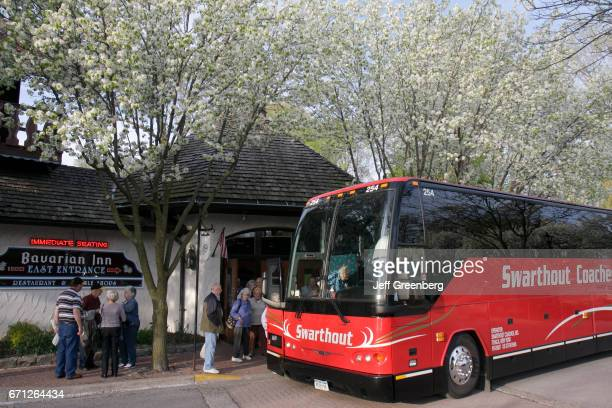A coach outside Bavarian Inn Restaurant