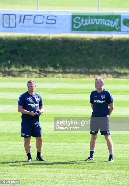 Coach Pal Dardai and assistant coach Rainer Widmayer of Hertha BSC during the training camp on august 2 2017 in Schladming Austria