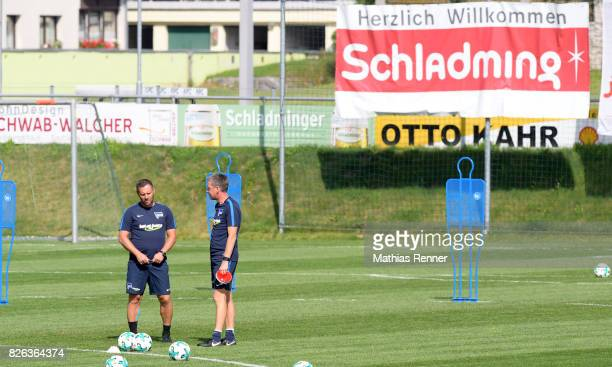 coach Pal Dardai and assistant coach Rainer Widmayer of Hertha BSC during the training camp on August 4 2017 in Schladming Austria
