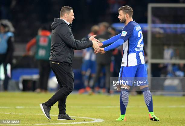 coach Pal Dardai and Marvin Plattenhardt of Hertha BSC after the game between Hertha BSC and the Eintracht Frankfurt on february 25 2017 in Berlin...
