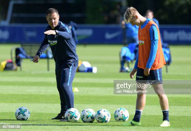 coach Pal Dardai and Sinan Kurt of Hertha BSC during the training on august 23 2017 in Berlin Germany
