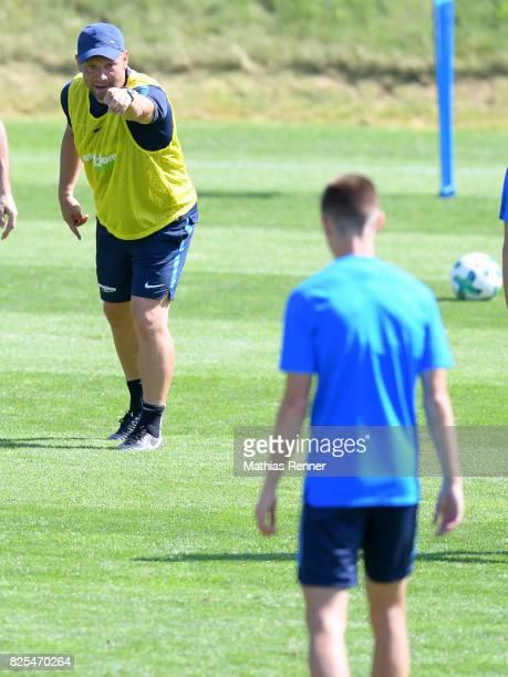 coach Pal Dardai gibt Julius Kade of Hertha BSC Anweisungen during the training camp on august 2 2017 in Schladming Austria