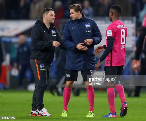 coach Pal Dardai Niklas Stark and Salomon Kalou of Hertha BSC after the game between Hamburger SV and Hertha BSC on march 5 2017 in Hamburg Germany