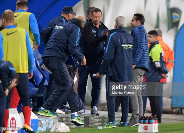 coach Pal Dardai of Hertha BSC during the game between FC Hansa Rostock and Hertha BSC on August 14 2017 in Rostock Germany