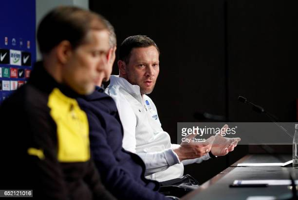 Coach Pal Dardai of Hertha BSC during the press conference after the game between Hertha BSC and Borussia Dortmund on March 11 2017 in Berlin Germany