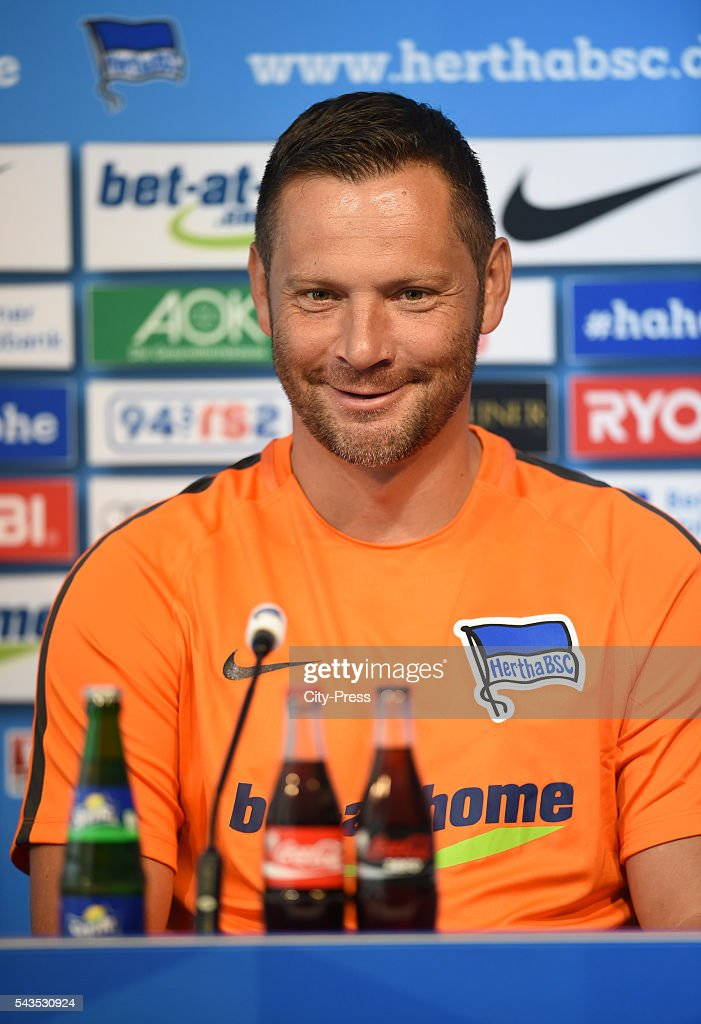 coach <a gi-track='captionPersonalityLinkClicked' href=/galleries/search?phrase=Pal+Dardai&family=editorial&specificpeople=604310 ng-click='$event.stopPropagation()'>Pal Dardai</a> of Hertha BSC during the press conference on june 29, 2016 in Berlin, Germany.