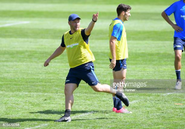 coach Pal Dardai of Hertha BSC gives instructions during the training camp on august 2 2017 in Schladming Austria