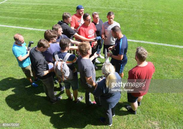 coach Pal Dardai of Hertha BSC speaks with the press during the training camp on august 2 2017 in Schladming Austria