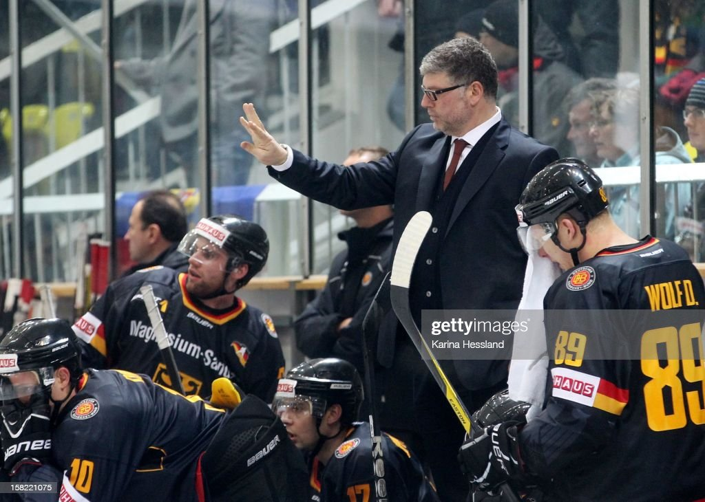 Coach Pat Cortina of Germany gestures during the Top Teams Sochi match between Germany and Russia at Kuechwaldhalle on December 11, 2012 in Chemnitz, Germany.