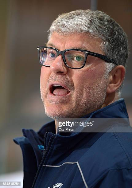 coach Pat Cortina of the Schwenninger Wild Wings gestures during the action shot on August 21 2016 in Schwenningen Germany