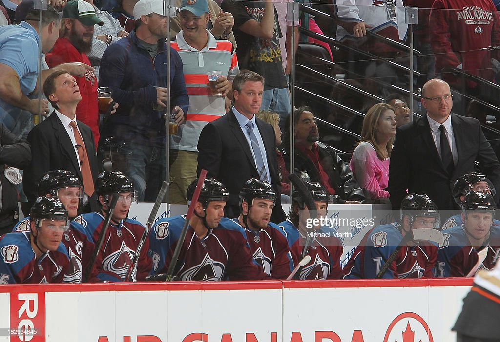 Coach <a gi-track='captionPersonalityLinkClicked' href=/galleries/search?phrase=Patrick+Roy&family=editorial&specificpeople=204512 ng-click='$event.stopPropagation()'>Patrick Roy</a> (center) of the Colorado Avalanche leads his team to their opening night win against the Anaheim Ducks at the Pepsi Center on October 2, 2013 in Denver, Colorado. The Avalanche defeated the Ducks 6-1.