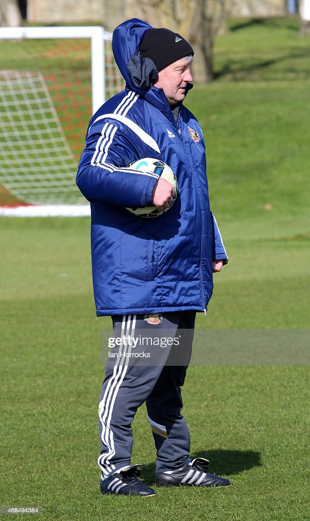 Coach Paul Bracewell during a Sunderland training session at the Academy of Light on April 03 2015 in Sunderland England