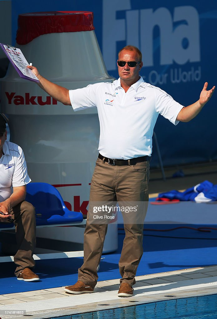 Coach Paul Metz of Great Britain looks on during the Women's Water Polo first preliminary round match between Canada and Great Britain during Day Two of the 15th FINA World Championships at Piscines Bernat Picornell on July 21, 2013 in Barcelona, Spain.
