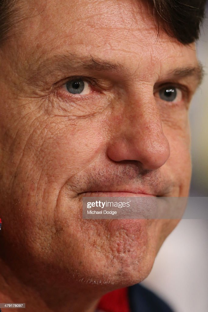 Coach Paul Roos reacts during a Melbourne Demons AFL media session at AAMI Park on March 17, 2014 in Melbourne, Australia.