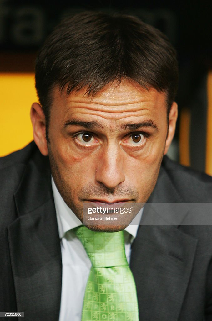 Coach <a gi-track='captionPersonalityLinkClicked' href=/galleries/search?phrase=Paulo+Bento&family=editorial&specificpeople=2076425 ng-click='$event.stopPropagation()'>Paulo Bento</a> of Sporting Lisbon looks on during the UEFA Champions League Group B match between Bayern Munich and Sporting Lisbon at the Allianz Arena on October 31, 2006 in Munich, Germany.