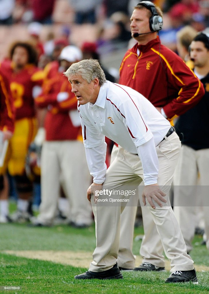 Coach Pete Carroll of the USC Trojans reacts after the Arizona Wildcats scored a touchdown to win, 21-17, during the NCAA college football game at the Los Angeles Coliseum on December 5, 2009 in Los Angeles, California.