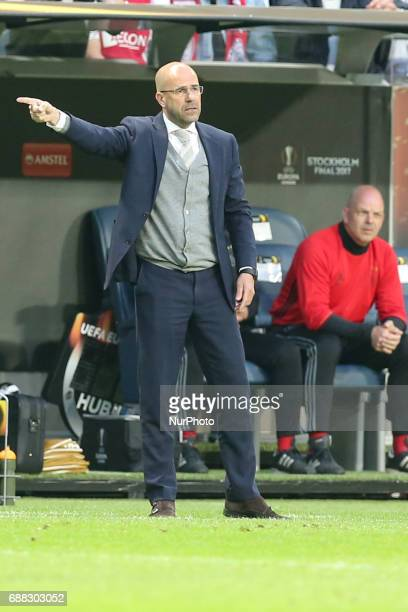 Coach Peter Bosz head coach of Ajax during the UEFA Europa League Final between Ajax and Manchester United at Friends Arena on May 24 2017 in...