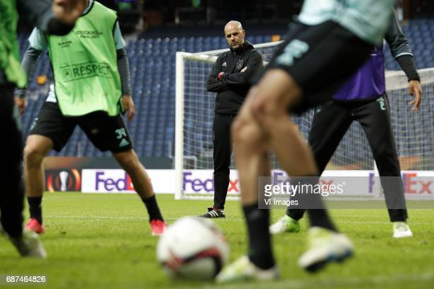 coach Peter Bosz of Ajaxduring a training session prior to the UEFA Europa League final match between Ajax Amsterdam and Manchester United at the...