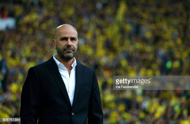 Coach Peter Bosz of Dortmund is seen before during the DFL Supercup 2017 match between Borussia Dortmund and Bayern Muenchen at Signal Iduna Park on...