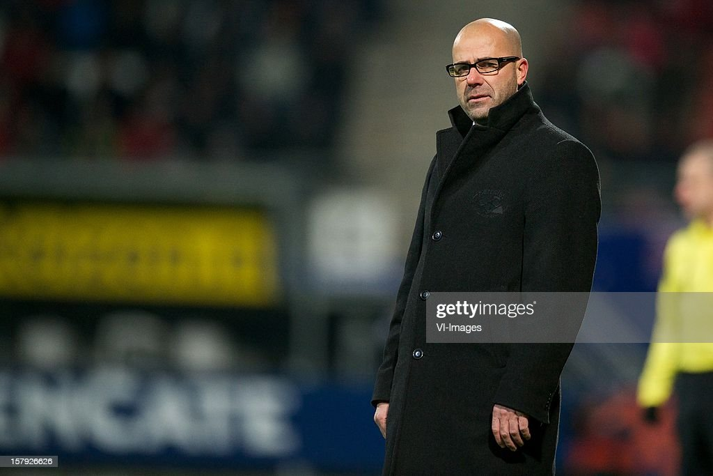 coach Peter Bosz of Heracles Almelo during the Dutch Eredivisie match between Heracles Almelo and FC Utrecht at the Polman Stadium on December 7, 2012 in Almelo, The Netherlands.