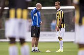 coach Peter Bosz of Vitesse eith Lewis Baker of Vitesse during the first training of the season of Vitesse Arnhem on June 28 2015 at Papendal The...