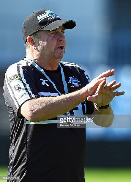 Coach Peter Sharp instructs his team during a Cronulla Sharks NRL training session at Remondis Stadium on May 14 2014 in Sydney Australia
