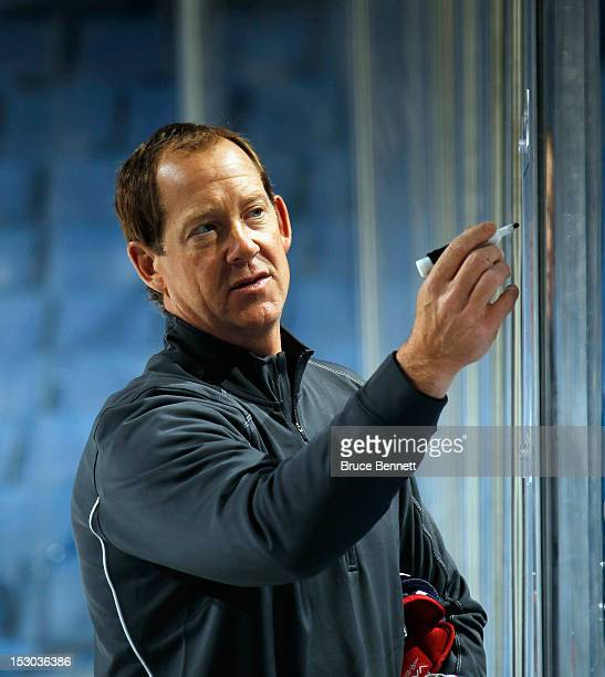 Coach Phil Housley takes charge of practice during the morning skate prior to the USA Hockey AllAmerican Prospects Game at the First Niagara Center...