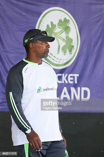 Coach Phil Simmons of Ireland looks on during the 2015 ICC Cricket World Cup match between the West Indies and Ireland at Saxton Field on February 16...