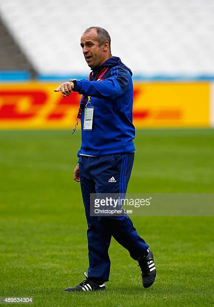 Coach Philippe SaintAndre of France during the France Captain's Run in the Rugby World Cup at Queen Elizabeth Olympic Park on September 22 2015 in...