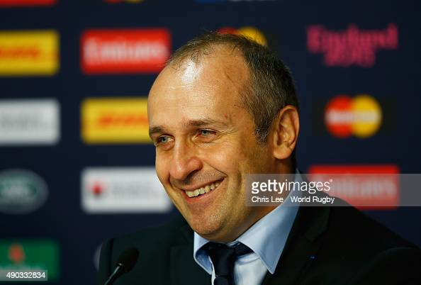 Coach Philippe SaintAndre of France talks to the media during the press conference during the 2015 Rugby World Cup Pool D match between France and...