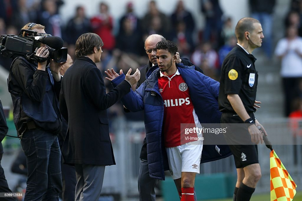 Coach Phillip Cocu of PSV (CL), Adam Maher of PSV (CR) during the Dutch Eredivisie match between PSV Eindhoven and SC Cambuur Leeuwarden at the Phillips stadium on May 01, 2016 in Eindhoven, The Netherlands