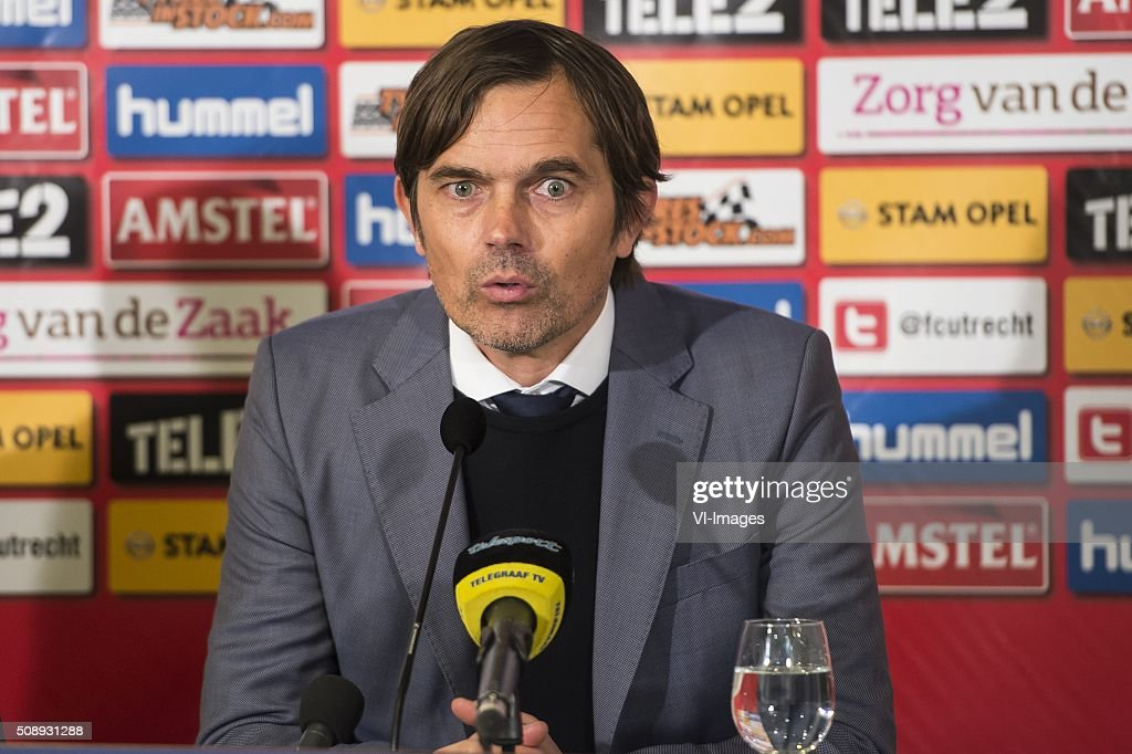 coach Phillip Cocu of PSV during the Dutch Eredivisie match between FC Utrecht and PSV Eindhoven at the Galgenwaard Stadium on February 07, 2016 in Utrecht, The Netherlands