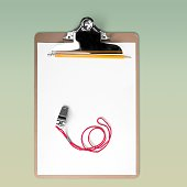 Blank Paperclip and whistle on gray background